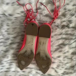 J. Crew Shoes - J.CREW F1230 Pink Leather Up Ankle Tie Flats SZ 7